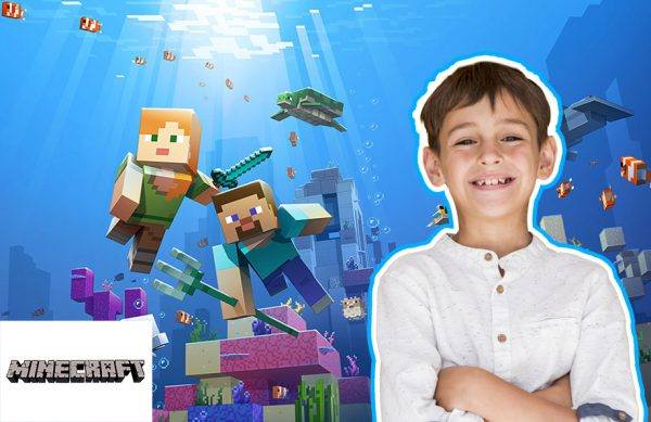 a young boy learns Minecraft Coding at home