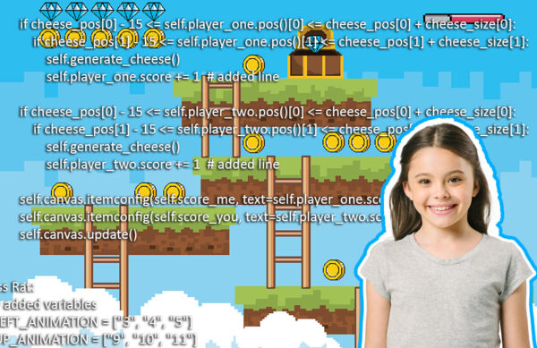 """""""a young girl learning computer games programming using Python Coding"""""""
