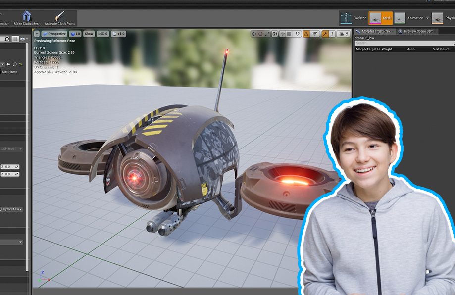 a young boy learning 3D Games Design & Development Course online